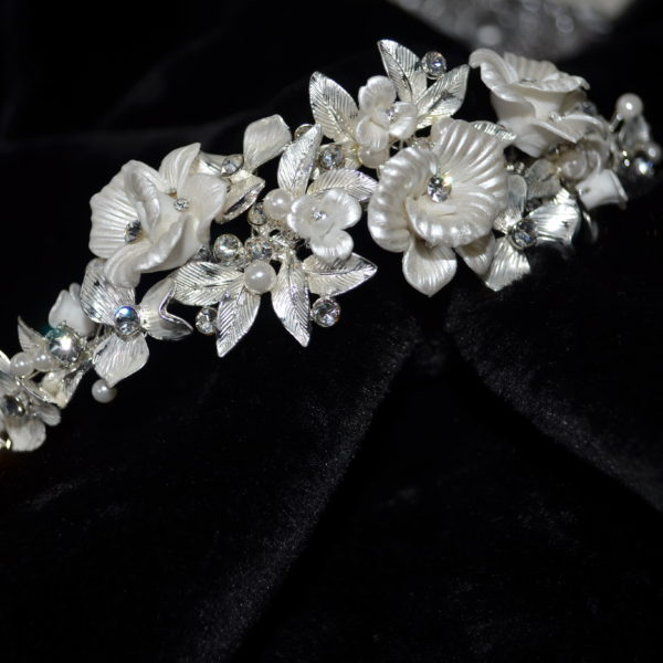 Painted floral pearl and rhinestone headband.